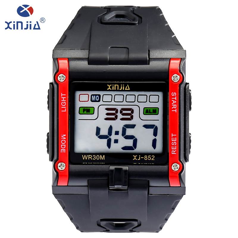 XINJIA New fashion leisure mens watches top brand luxury waterproof luminous digital watch Classic tricolor Resin material watch все цены