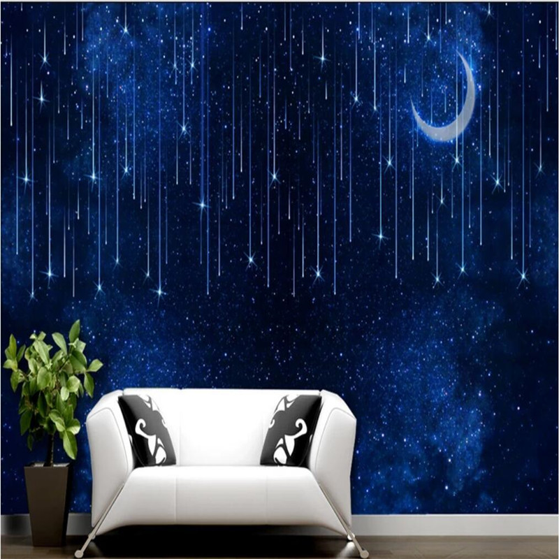 Custom Wallpaper Meteor Shower Moon Night Sky Blue Star Space Space Background Wall Decoration - High-grade Waterproof Material