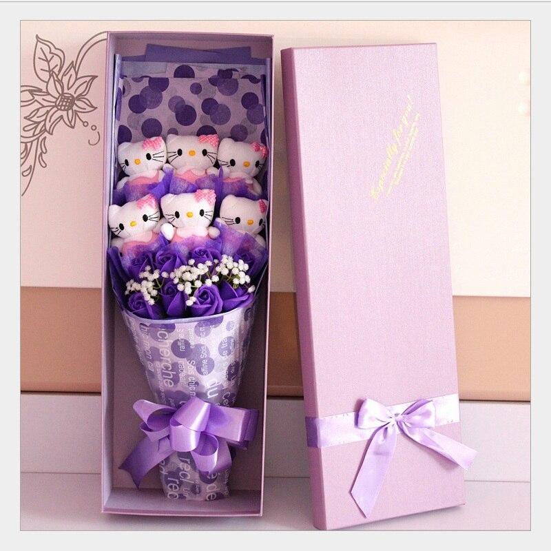 Nouveau style En Peluche et Animaux stuff jouets chat en peluche poupée dessin animé de mode bouquets fleur Creative cadeaux du Jour de Valentine De Noël cadeau