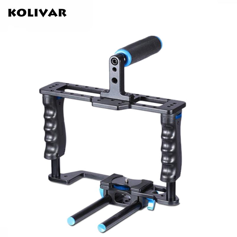 KOLIVAR CK612 Portable Lightweight High quality Heavy-duty Aluminum Alloy Film Movie Making Camera Video Cage for DSLR Cameras yelangu aluminum alloy camera video cage kit film system with video cage top handle grip matte box follow focus for dslr