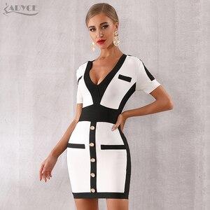 Image 4 - Adyce 2020 新夏の女性の包帯ドレス vestido セレブイブニングパーティードレスセクシーなディープ v 半袖ミニボディコンクラブドレス