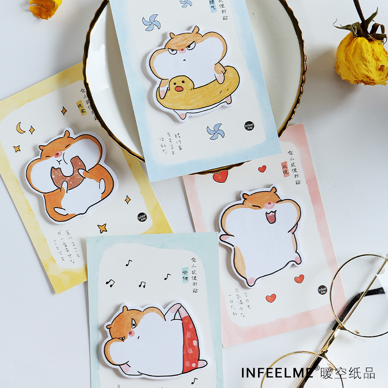 1Set Memo Pads Sticky Note Kawaii Cartoon Hamster Paper Notepad Diary Scrapbooking Stickers Office School Stationery Notepads