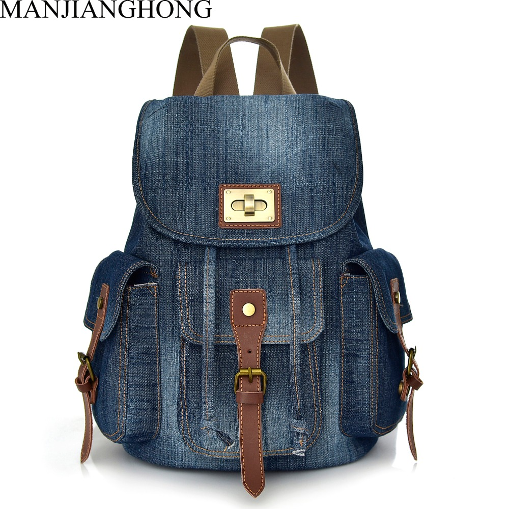 Women Denim Backpacks For Teenage Girls Travel Laptop Fashion Backpack School Shoulder Bag College style Bagpack Mochilas