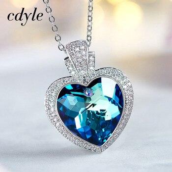 Cdyle Kryształy z Swarovski Mody Niebieskie Światło Biżuteria Chic Wisiorki Kobiety Naszyjniki Fioletowy Niebieski Heart Shaped Rhinestone Nowy