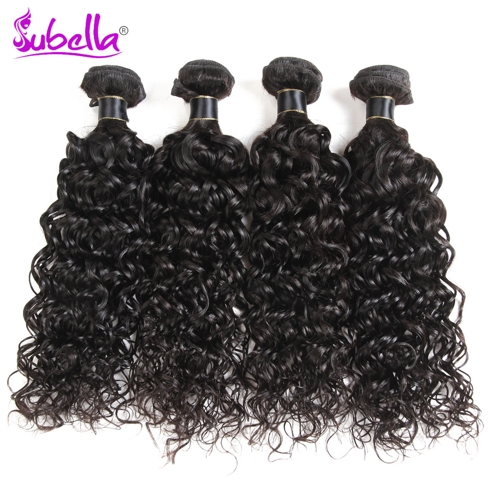 Subella Hair Peruvian Hair Water Wave 4 Bundles 100% Real Human Hair Weave Bundles Beauty No Shedding Non Remy Hair Extensions
