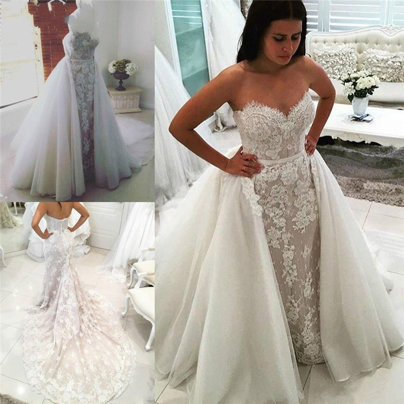Detachable Trains For Wedding Gowns: Newest Lace Tulle Wedding Dresses Detachable Train 2019
