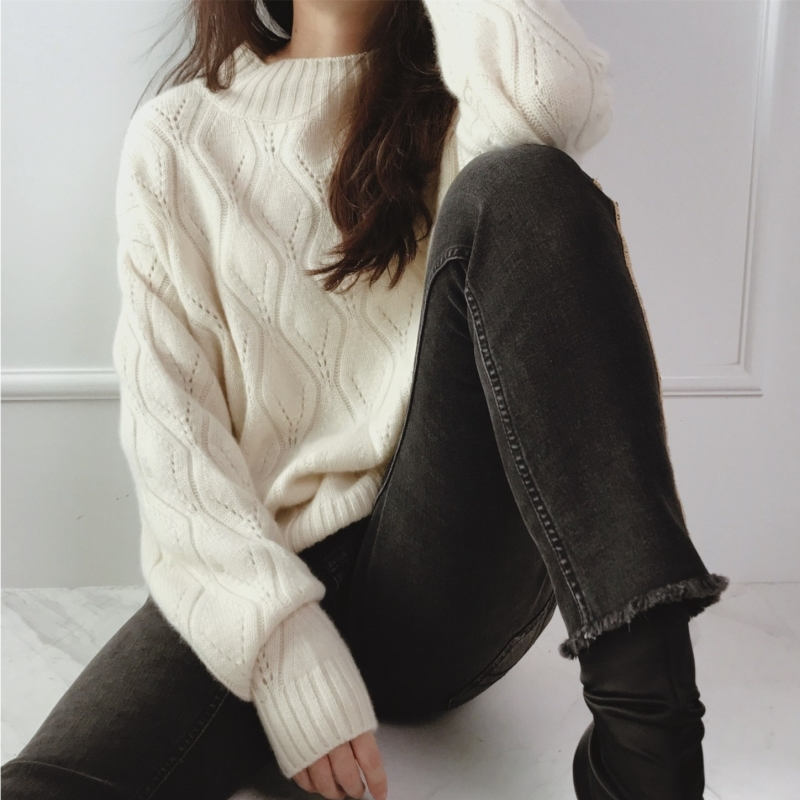Half-high collar cashmere sweater women's short knit long-sleeved  simple wild high quality spring women's sweater pullover