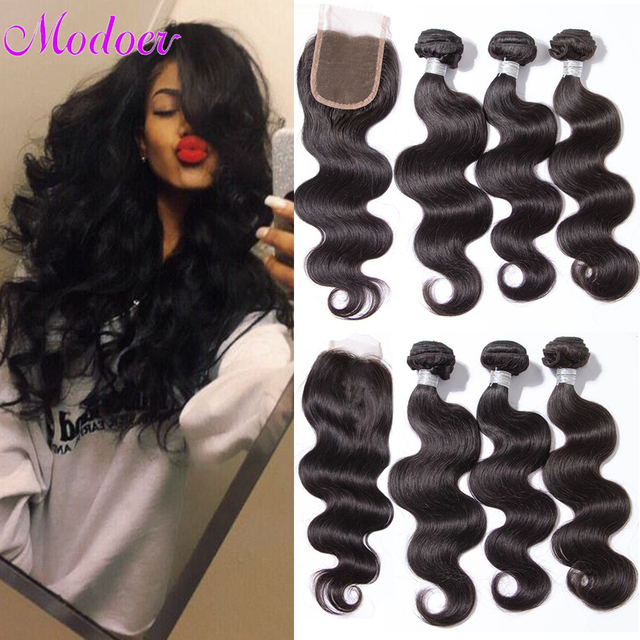 8A Mink Brazilian Virgin Hair With Closure Brazilian Body Wave 3Bundles With Closure Soft Human Hair Weave Bundles With Closure