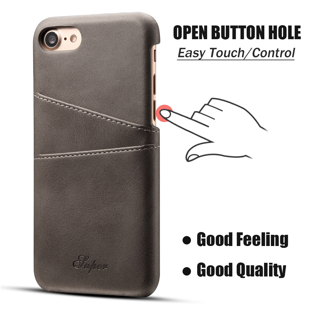 KIP71157G_1_Slim Leather Back Cover For iPhone 7 8 Cow Case Ultra Thin Wallet Card Holder Back Covers For iPhone 7 Plus 8 Plus