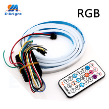 2Sets Canbus Remote Control RGB 120cm 5050LED 12V IP65 with 3M Glue Dynamic Streamer Car Luggage Compartment Lamp Strip NO ERROR
