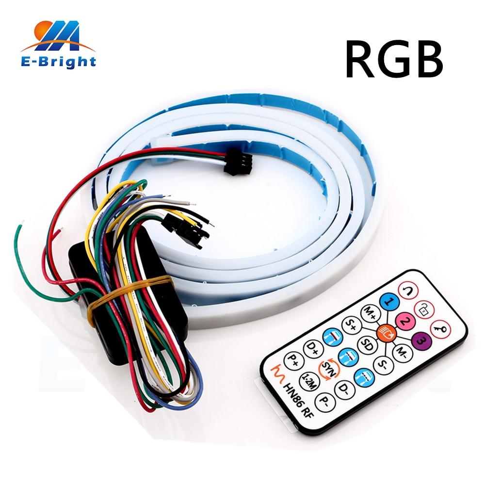 YM E-Bright 2pcs Remote Control RGB 120cm 5050 <font><b>LED</b></font> 12V Dynamic Streamer Car Luggage Compartment Lamp Strip <font><b>Canbus</b></font> Free Shipping
