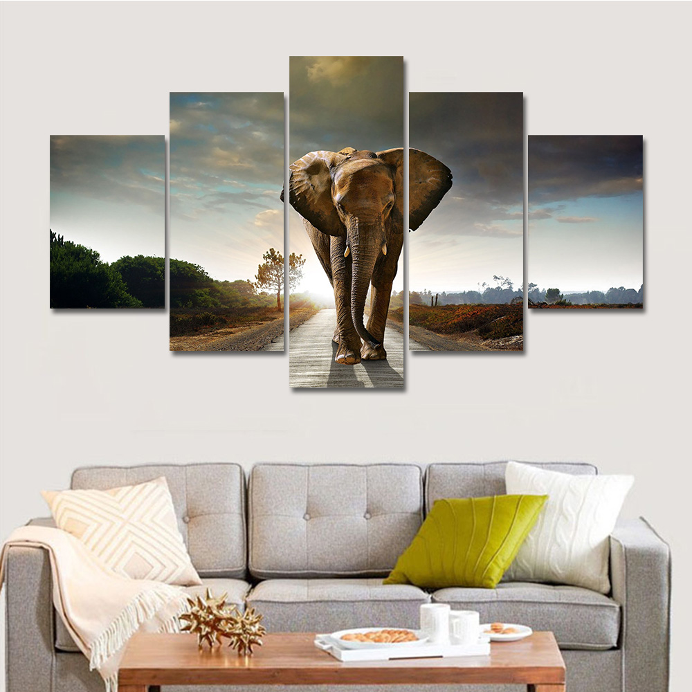Wall art elephant - Aliexpress Com Buy Drop Shipping Hot Modern Printed Elephant Oil Painting 5 Panel Cuadros Canvas Wall Art For Home Decor Modular Painting Unframed From