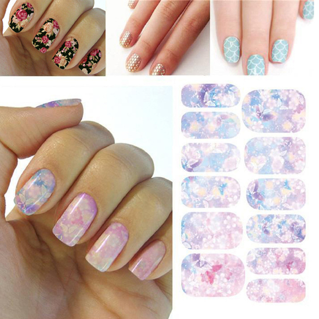 Water Transfer Nails Art Sticker Pink Red Rose Flowers Design Nail ...
