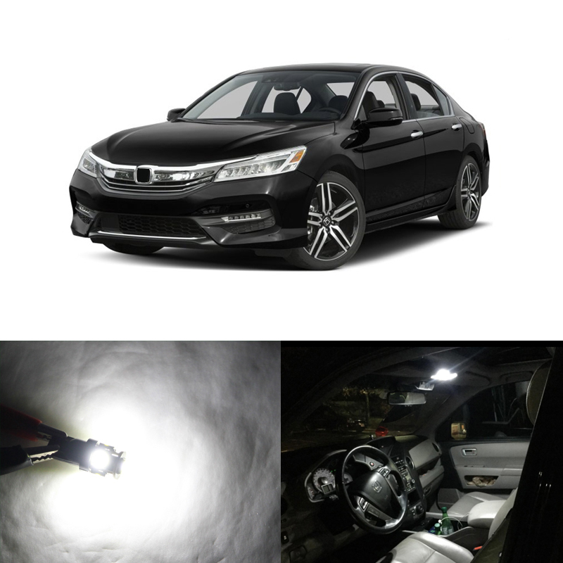 Direct Fit For Honda Accord 2013-2017 6000K White Car Interior Led Package Kit Bulbs For Map Dome Trunk Door Courtesy Lights