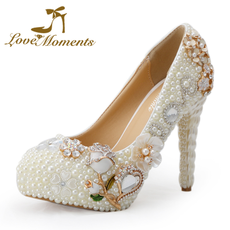 Love Moments Crystal wedding shoes high heel woman pumps rose rhinestone ivory pearl handmade bridal shoes dress shoes plus size multitronics c 590