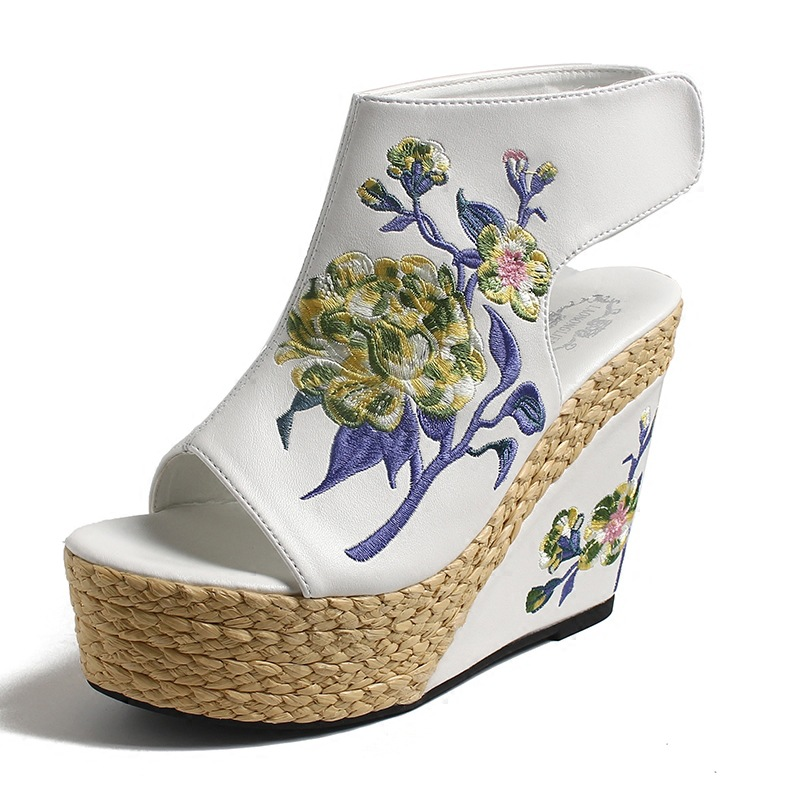 2019 National Wind Straw Embroidery Fashion Sandals Platform Shoes Women Shoes High-heel Sandals Wedges Genuine Leather Sandals2019 National Wind Straw Embroidery Fashion Sandals Platform Shoes Women Shoes High-heel Sandals Wedges Genuine Leather Sandals