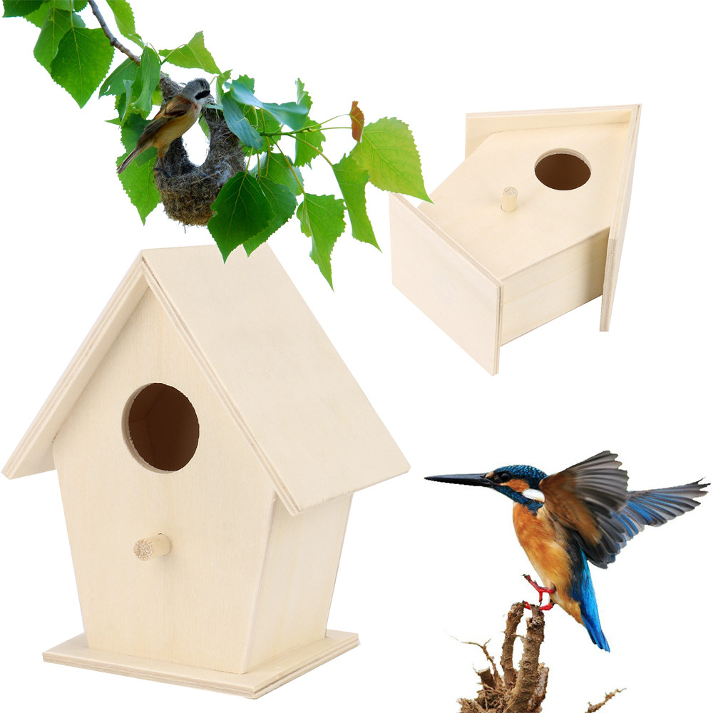 Wondrous Us 1 37 32 Off Wooden Bird House Nest Creative Wall Mounted Wooden Outdoor Bird Nest Birdhouse Wooden Box Dropshippingyy In Bird Cages Nests From Home Interior And Landscaping Ferensignezvosmurscom