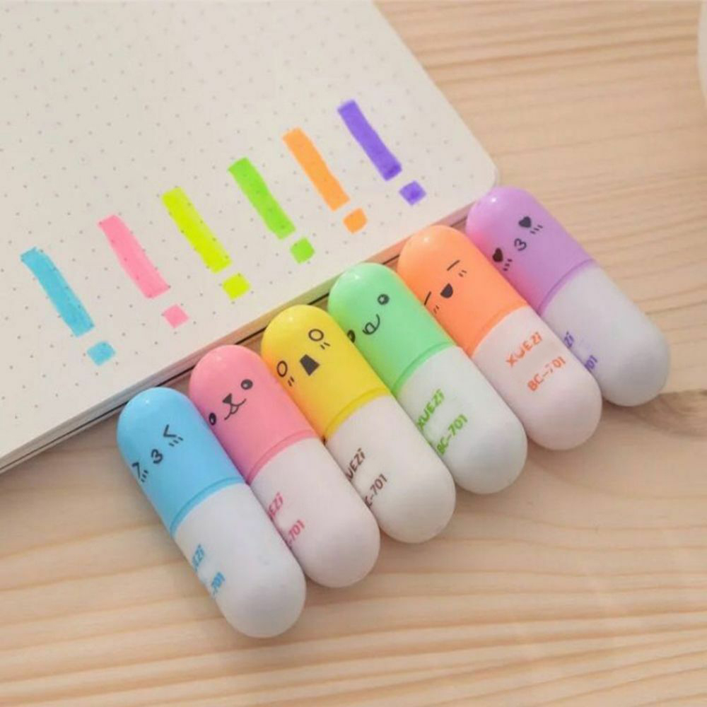 New 6Pcs/set Mini Smiling Face Pill Highlighter Lovely Cartoon Painting Pen Marking Pens Students Learn Stationery Supplies