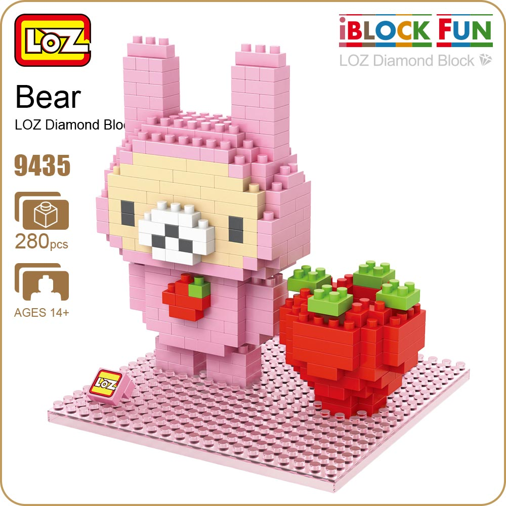 LOZ Diamond Blocks Bear Strawberry Rabbit Pen Holder White Bear Cute Lovely Home Decoration Popular Toys For Girls Bricks 9435 юбка strawberry witch lolita sk