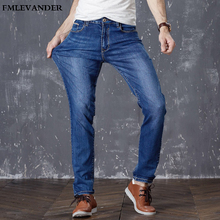 4b1eab548d18f Avrupa Amerikan Tarzı Streç Lüks erkek denim pantolon İnce Düz mavi Beyefendi  Erkek Kot