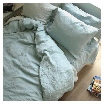 Set o0f 4 Pre stone washed 100% Natural Linen grey green bedding duvet cover set+ 2 pillowcases + flat sheet Tsingtao Christmas
