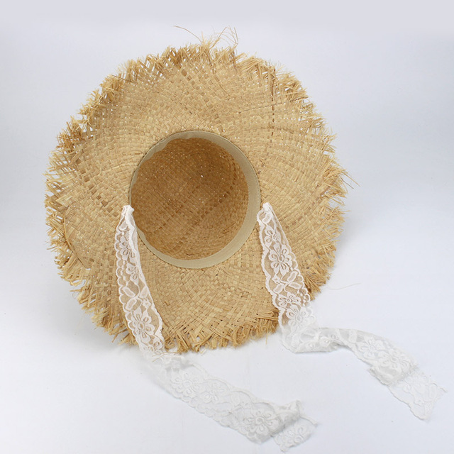 Simple Fashion Women Summer Hats Large Raffia Straw Hat Lace Ribbon Lace-Up Beach Caps Fashion Ladies Panama Sun Hat for Girl 4