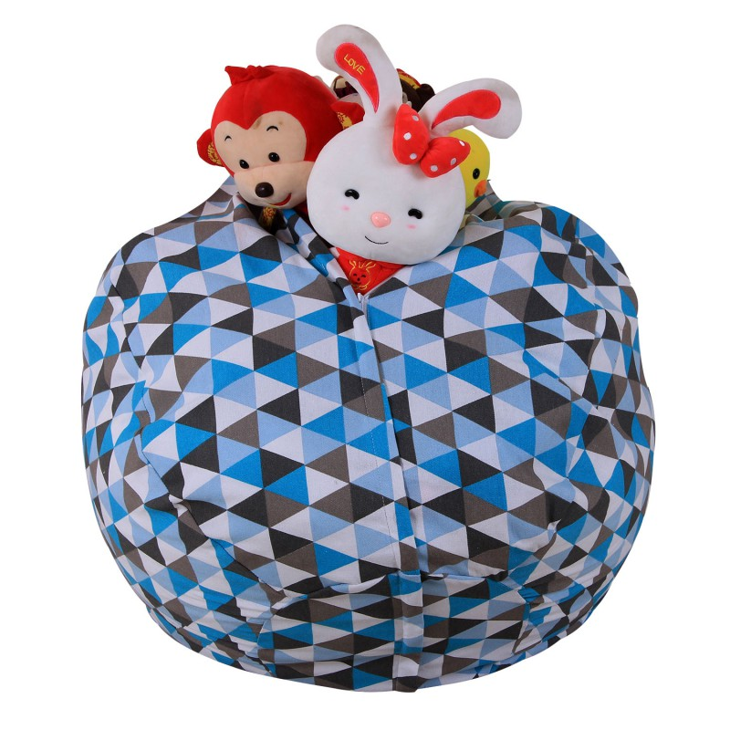 Modern Stuffed Striped Storage Bean Bag Chair Portable Kids Toy Storage Bag & Play Mat Organizer for Livingroom Home storage
