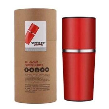 открытый кофе | Кофейная чашка из нержавеющей стали, одноцветная портативная кофеварка, ручная шлифовальная машина, чашка из нержавеющей стали