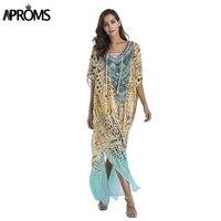 Aproms V Neck Hot Drilling Boho Print Loose Dress Women Leopard Chiffon Long Maxi Dresses Sundress