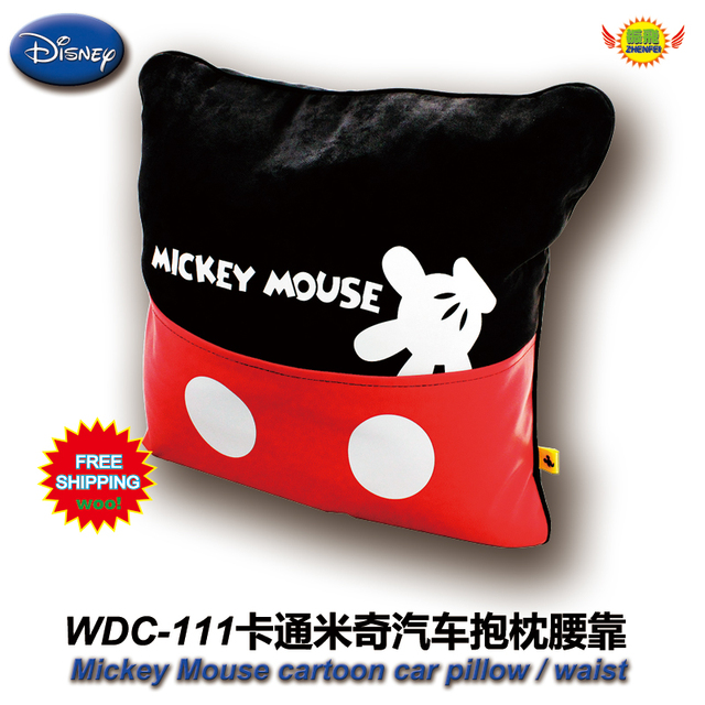 freeshipping car accessories mickey mouse cartoon red and black velveteen pillow embroidered seat lumbar support  WDC-111