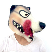 New Arrival Horrible Latex Wolf Tongue Mask Scary Halloween Party Full Face Mask Headgear Masquerade Props