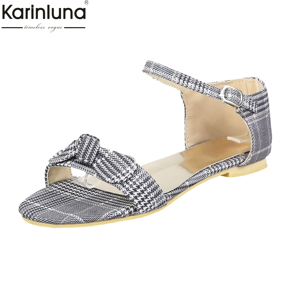 KarinLuna 2018 Wholesale Big Size 33-43 Flat Heels Summer Sandals Woman Sweet Bow Fashion ankle-strap womens ShoesKarinLuna 2018 Wholesale Big Size 33-43 Flat Heels Summer Sandals Woman Sweet Bow Fashion ankle-strap womens Shoes