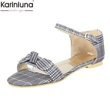 559b401bf KarinLuna 2018 Wholesale Big Size 33-43 Flat Heels Summer Sandals Woman  Sweet Bow Fashion