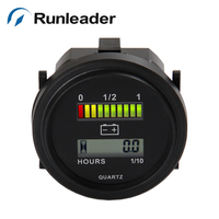 ROUND 3 Color LED Battery Indicator And Hour Meter For Golf Carts Car Electric Vehicle Scooter
