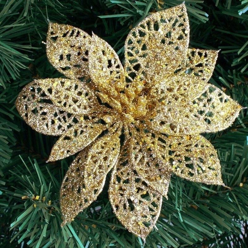 10 stk Glitter Hollow Flower Decoration Blomster til juletræer til - Varer til ferie og fester - Foto 4