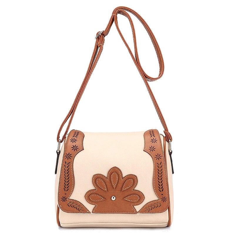Hot Sell 2016 Vintage Bag Hollow Lady Casual Shoulder Bag High Quality PU Leather Women Messenger Bag Beige Color Female Bag