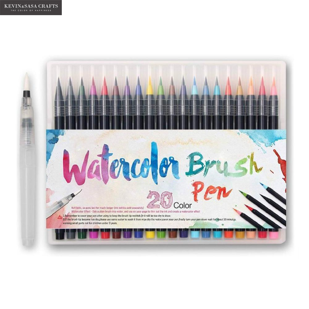 20Colors/Set Maker Pens Painting Soft Brush Pen Set Watercolor Markers Pen Best For Coloring Books School Supplies Stationery