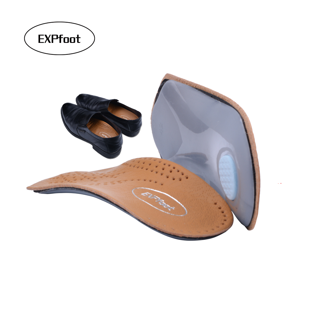 EXPfoot 3/4 length Leather insole Flat Foot Orthotic insoles Arch Support 2.5cm Half Shoe Pad Orthopedic Insoles Foot Care