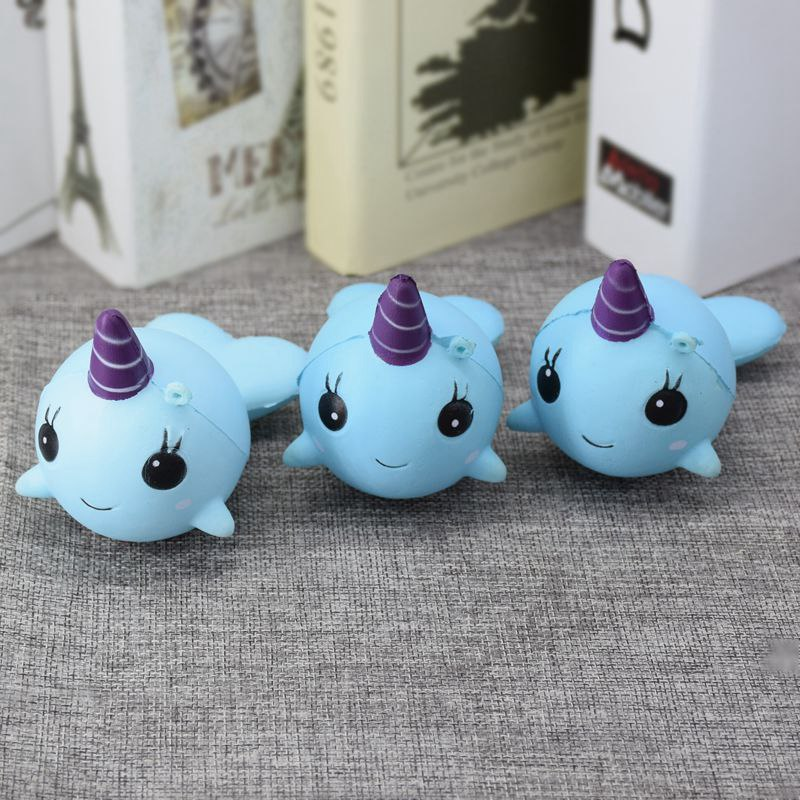 Popular Soft Narwhal Uni Whale Blue 11cm Slow Rising Cute Soft Collection Gift Decor Toy PU Foam Cell Phone Straps