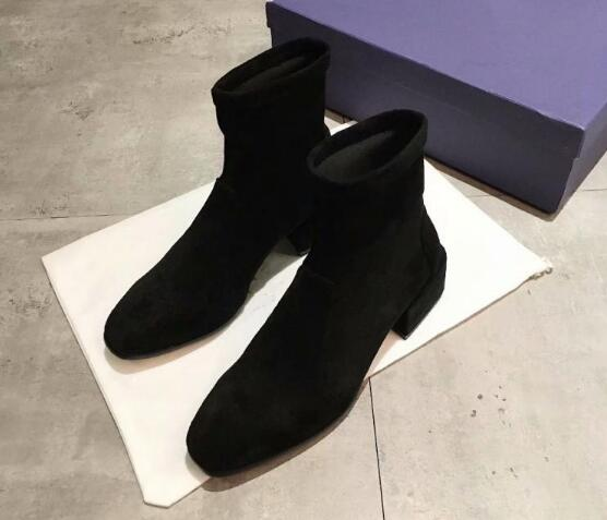 Leather Martin boots female 2018 autumn and winter new short boots chunky heel matte leather elastic with square toe boots