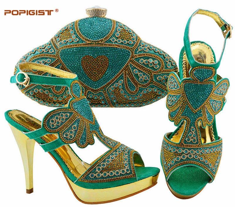 Wedding Dress Shoes With Matching Bag Thin Pumps Elegant Shoes and Bag Set Aqua Color High