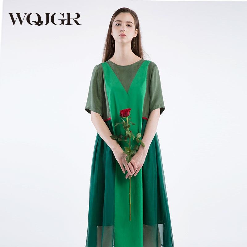 ᗖWQJGR 2018 mujeres verano suelto Vestido Mujer vintage color verde ...