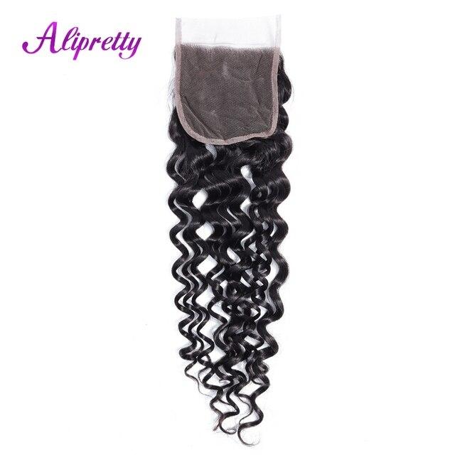 Alipretty malayo del pelo de la onda de agua 4*4 Cierre de encaje Color Natural no Remy pelo humano del cierre del cordón del bebé pelo 130% de densidad