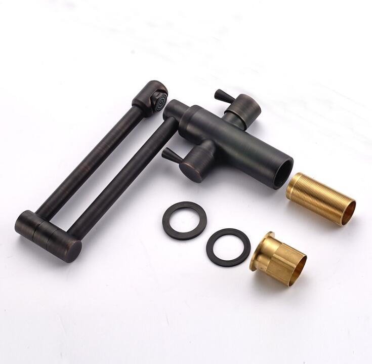 Deck Mounted Kitchen Sink Faucet Folding Hot and Cold Water Mixer Tap Oil Rubble Bronze Black Faucet ML35 - 3