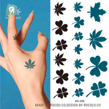 Body Art Sex Products Black White Blue Clover Leaves Water Transfer Temporary Fast Flash Fake Tattoos Sticker Taty