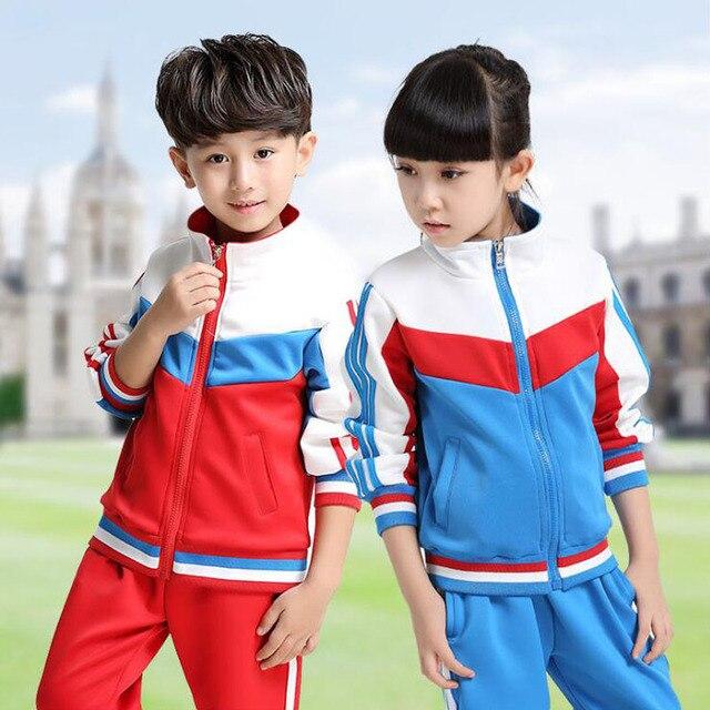 ec0a2313a200 Дети начальной Школьная форма подростков комплект одежды для детей  спортивный костюм для мальчиков костюм для девочек