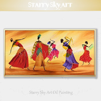 African Woman Dancing Figures Oil Painting Beautiful Contemporary Wall Art African Woman Dancer Oil Painting for Wall Decoration