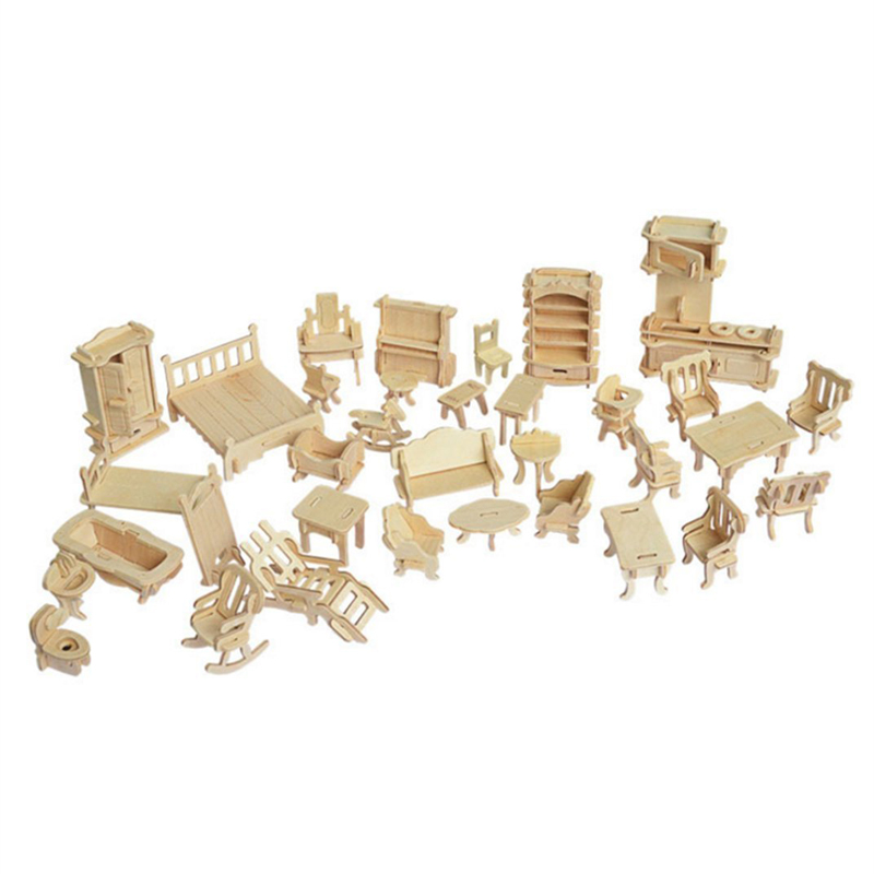 Miniature 1:12 Dollhouse Furniture For Dolls Mini 3D Wooden Puzzle DIY Building Model Toys For Children Gift(China)