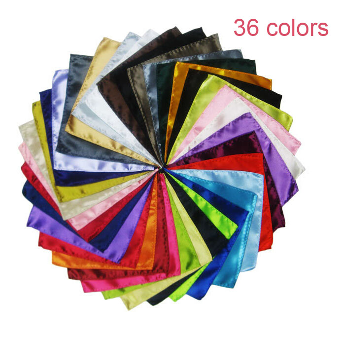 Luxury 36 Colors Hanky Men's Handkerchief Solid Color White Black Red Pocket Square 22cm Wedding Business Party Chest Towel