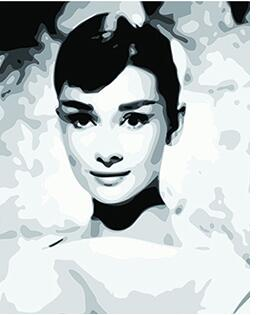 MaHuaf-W1030 Audrey Hepburn Framed Acrylic Painting by Number kit digital canvas paintings for living room 40x50